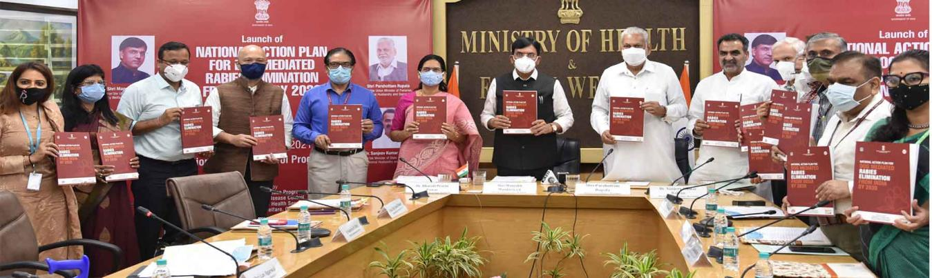 The Union Minister for Health & Family Welfare, Chemicals and Fertilizers, Shri Mansukh Mandaviya along with the Union Minister for Fisheries, Animal Husbandry and Dairying, Shri Parshottam Rupala launching the 'National Action Plan for Dog Mediated Rabies Elimination by 2030 (NAPRE)', on the occasion of the World Rabies Day, in New Delhi on September 28, 2021. The Minister of State for Fisheries, Animal Husbandry and Dairying, Shri Sanjeev Kumar Balyan, the Minister of State for Health and Family Welfare,