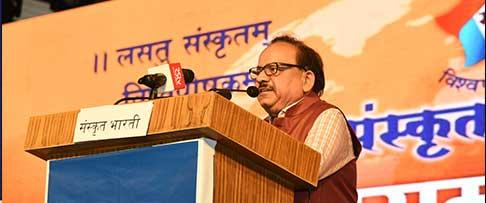 The Union Minister for Health & Family Welfare, Science & Technology and Earth Sciences, Dr. Harsh Vardhan addressing the World Conference 2019, organised by Samskrita Bharati, in New Delhi on November 10, 2019.