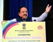 The Union Minister for Health & Family Welfare, Science & Technology and Earth Sciences, Dr. Harsh Vardhan addressing at the Pulse Polio Silver Jubilee Celebration, in New Delhi on October 31, 2019